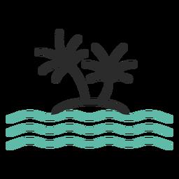 Icono de trazo de color isla solitaria