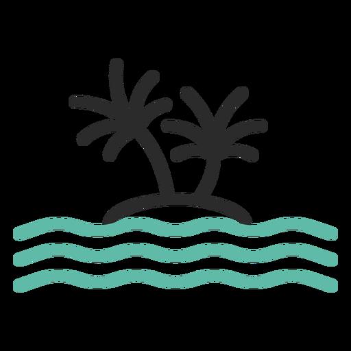 Icono de trazo de color isla solitaria Transparent PNG