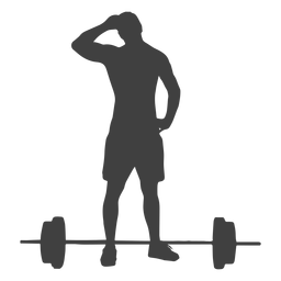 Man and barbell silhouette