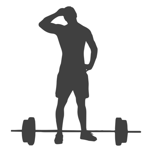 Man and barbell silhouette Transparent PNG