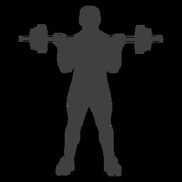 Hombre barbell biceps curl silueta
