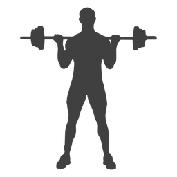 Silueta de curl de bíceps con barra de hombre