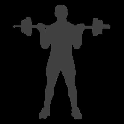 Man barbell biceps curl silhouette