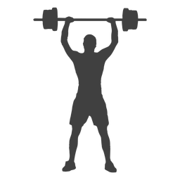 Man barbell overhead press silhouette