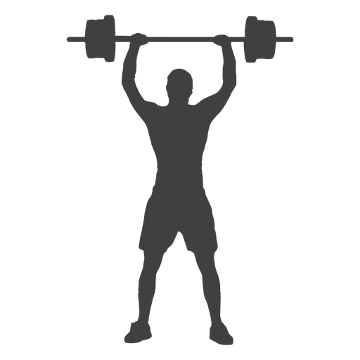 Man barbell overhead press silhouette Transparent PNG