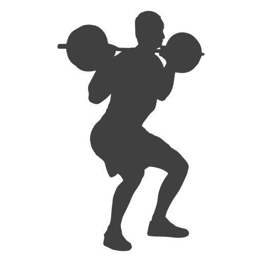 Man barbell squat silhouette