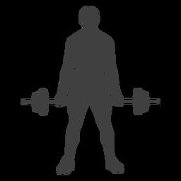 Hombre que sostiene la silueta de barra