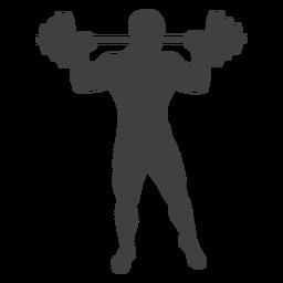 Hombre levantando la silueta de barra