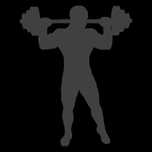Hombre levantando silueta de barra