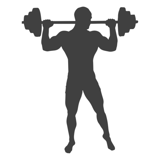 Man lifting barbell silhouette