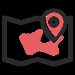 Ícone de traço colorido no local do mapa