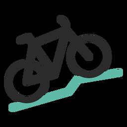 Icono de trazo de color de bicicleta de montaña