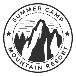 Logotipo do acampamento de verão montanha