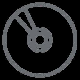 Icono de trazo de disco compacto multimedia