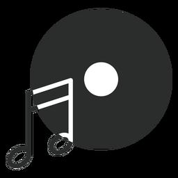 Ícone plano do disco de notas musicais
