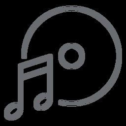 Icono de trazo de disco de nota musical