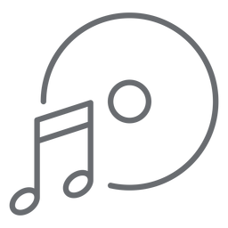Music note disc stroke icon