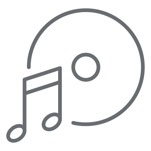 Icono de trazo de disco de nota musical Transparent PNG