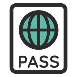 Pasaporte coloreado icono de trazo