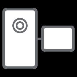 Ícone de traçado de filmadora de bolso
