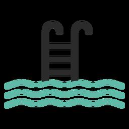 Ícone de traço colorido de escada de piscina