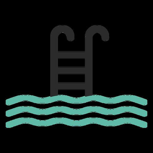 Icono de trazo de color de escalera de piscina Transparent PNG