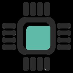 Procesador coloreado icono de trazo