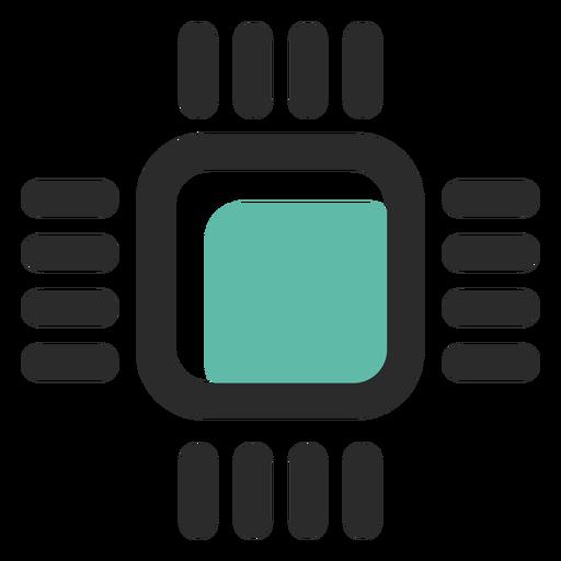 Ícone de traço colorido do processador Transparent PNG