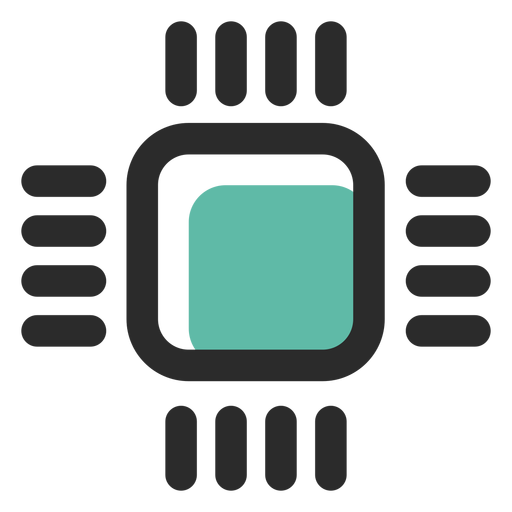 Processor colored stroke icon Transparent PNG