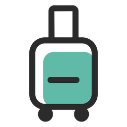 Equipaje rodante coloreado icono de trazo