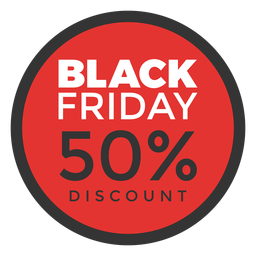 Round black friday discount tag