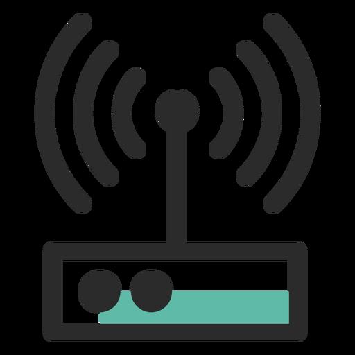 Ícone de traço colorido de roteador Transparent PNG