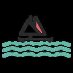 Ícone de traço colorido de barco à vela