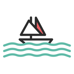 Sailing boat colored stroke icon
