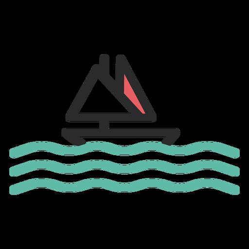 Ícone de traço colorido de barco à vela Transparent PNG