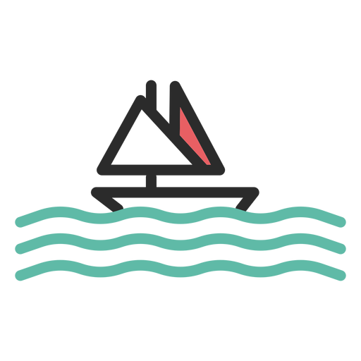Icono de trazo de color barco de vela Transparent PNG