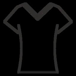 Scoop v cuello t shirt icono de trazo