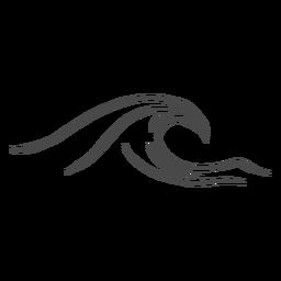 Mão de onda do mar desenhada