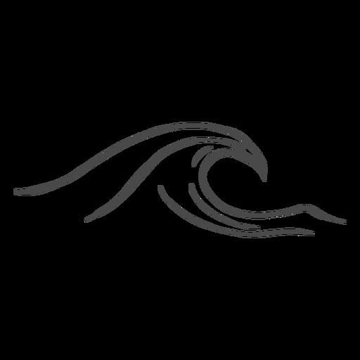 Ola del mar dibujado a mano Transparent PNG