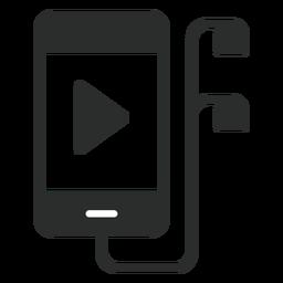 Smartphone con icono plana de auriculares