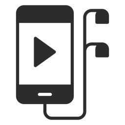 Smartphone with earphones flat icon