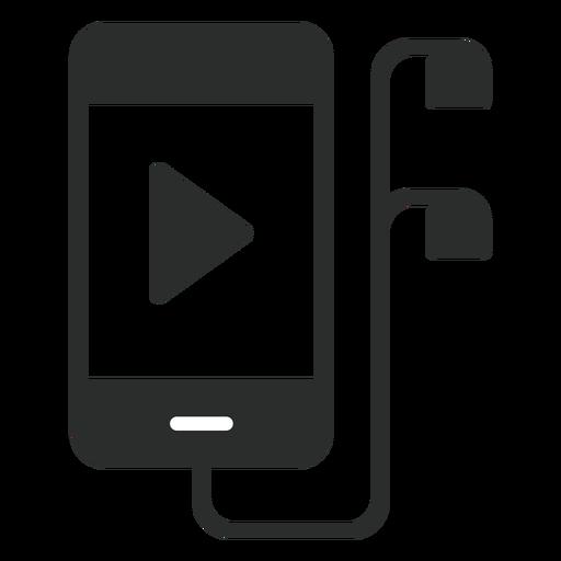 Smartphone com ícone plana de fones de ouvido Transparent PNG