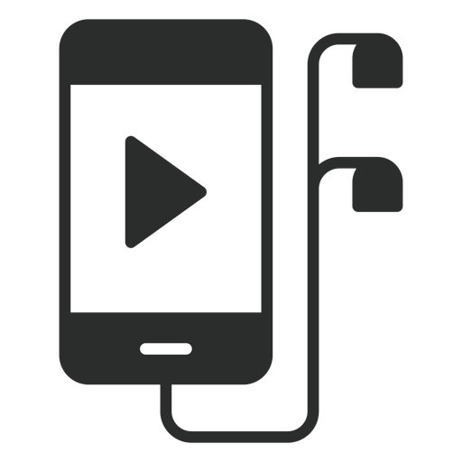 Smartphone with earphones flat icon Transparent PNG