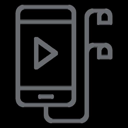 Smartphone com ícone de traços de fones de ouvido Transparent PNG