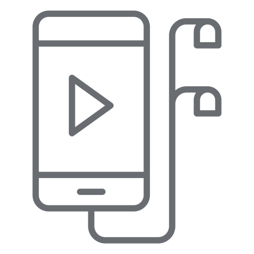 Smartphone con auriculares icono de trazo Transparent PNG