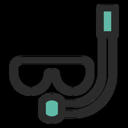 Ícone de traço colorido de máscara de snorkel