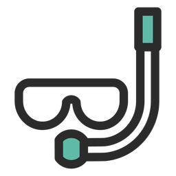 Snorkel mask colored stroke icon
