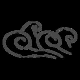 Stürmische Meereswogen Hand gezeichnet