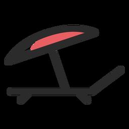Sunbed Regenschirm farbige Strich-Symbol