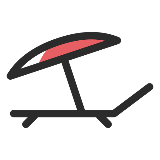 Sunbed umbrella colored stroke icon Transparent PNG